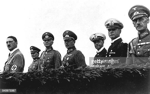 Germany Third Reich Nuremberg Rally 1935 From the left Adolf Hitler Hermann Goering Reich Minister of Defense General Werner von Blomberg the...