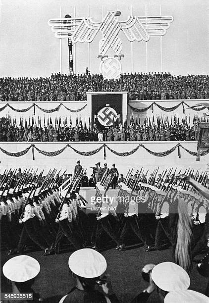 Germany Third Reich Nuremberg Rally 1935 Marchpast of the navy before Hitler and other Nazi leaders