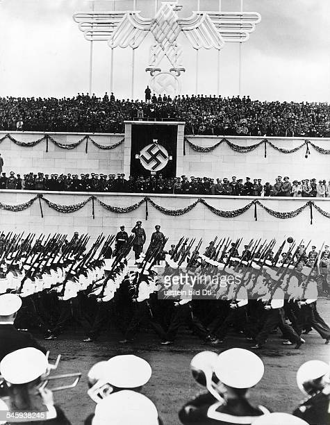 Germany Third Reich Nuremberg Rally 1935 Marchpast of the navy before Hitler and other Nazi leaders on the rally ground|