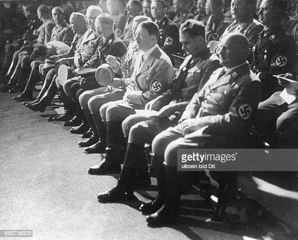 Germany Third Reich Nuremberg Rally 1935 Nazi leaders during the opening session of the party convention in the Luitpold Hall| from right the head of...