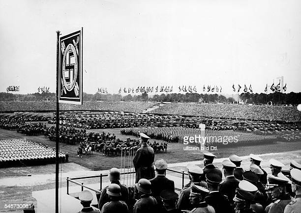 Germany Third Reich Nuremberg Rally 1937 Adolf Hitler during his adress on 'Defense Force Day' at the rally ground