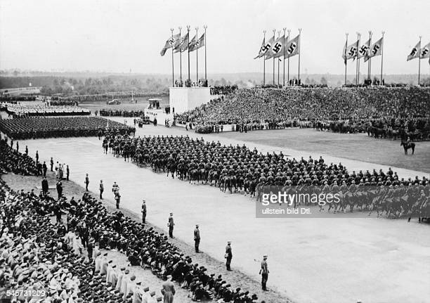 Germany Third Reich Nuremberg Rally 1937 Marchpast of the cavalry the infantry and the navy before Hitler on 'Defense Force Day' at the rally ground