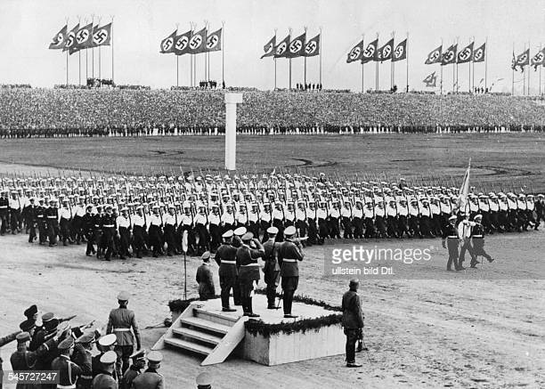 Germany Third Reich Nuremberg Rally 1937 Marchpast of the navy before Hitler and other Nazi leaders on 'Defense Force Day' at the rally ground