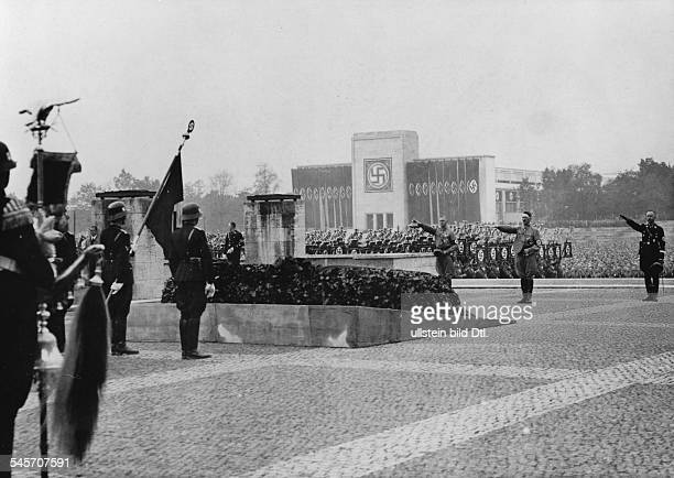 Germany Third Reich Nuremberg Rally 1937 Scene of the commemoration ceremony for 'those who fell for the movement' 2nd from right is Hitler