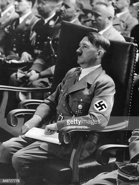 Germany Third Reich Nuremberg Rally 1938 Adolf Hitler during the welcome speech of Nazi party leaders by the mayor of Nuremberg in the great hall of...