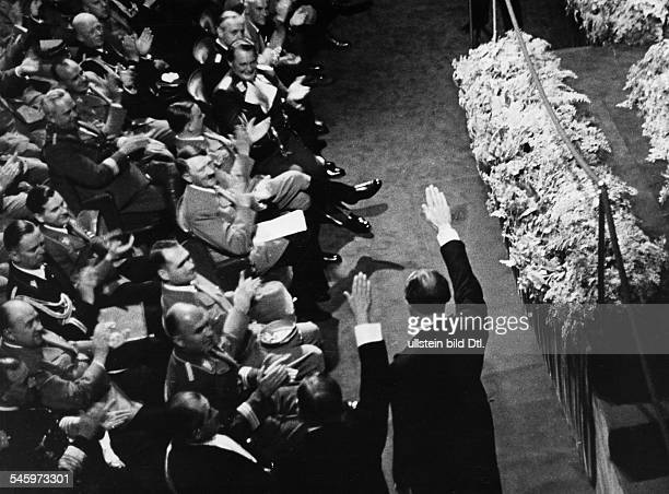 Germany Third Reich Nuremberg Rally 1938 Awarding of the German National Awards for Art and Science during the cultural congress in the opera house...