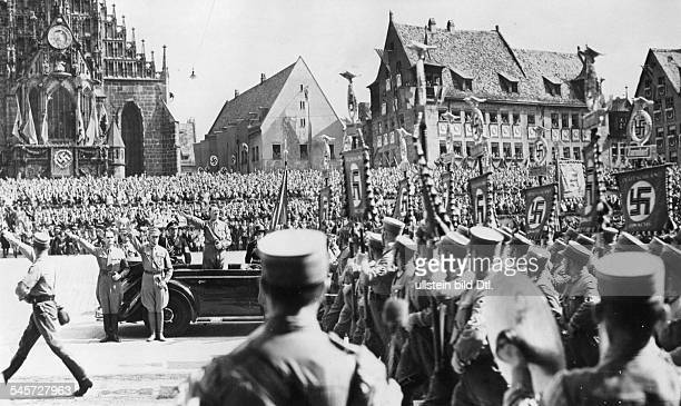 Germany Third Reich Nuremberg Rally 1938 Parade of the SA standards before Adolf Hitler in Nuremberg