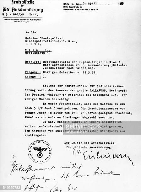 Germany Third Reich persecution of Jews 193339 emigration A letter by Adolf Eichmann concerning the training of Jewish emigrants