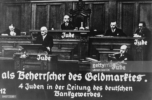 Germany Third Reich persecution of Jews 193339 propaganda Slide lecture 'Germany overcomes Jewry' as a training course for the Hitler Youth the...