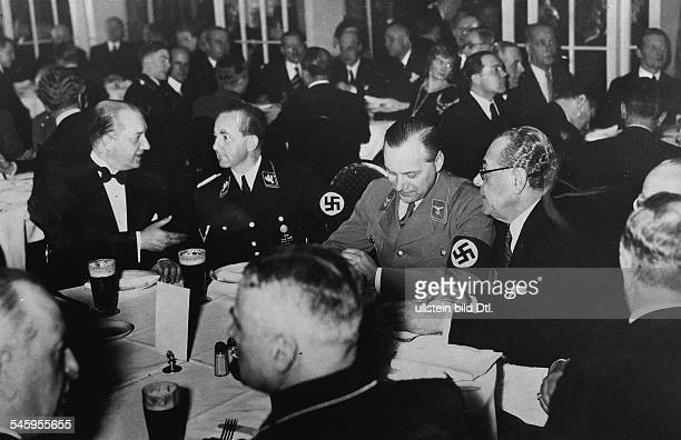 Germany Third Reich Reception of the 'Foreign Policy Office' at Hotel Adlon Berlin from the right Turkish embassador Mehmet Hamdi Alfred Rosenberg...
