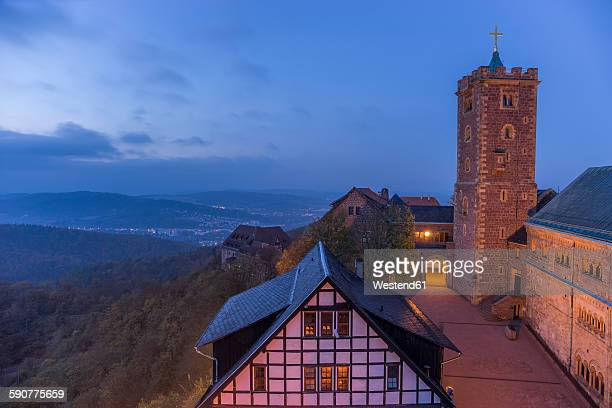 Germany, Thuringia, Eisenach, View from Wartburg in the evening