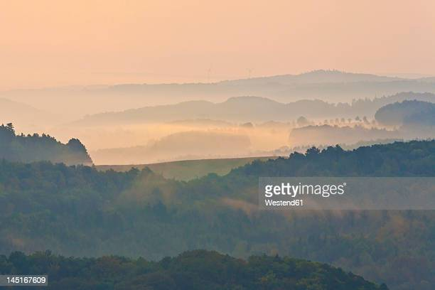 Germany, Thuringia, Eisenach, View of Thuringian Forest at dawn