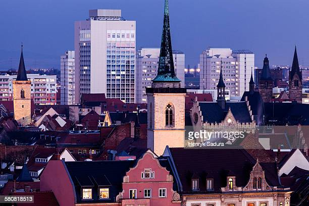 germany, thuringia, erfurt, cityscape with allerheiligenkirche bell tower - erfurt stock pictures, royalty-free photos & images