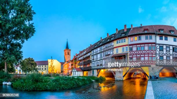 germany, thuringia, erfurt, kraemerbruecke, st giles church - thuringia stock pictures, royalty-free photos & images