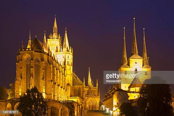 germany, thuringia, erfurt, view of church at night - erfurt stock pictures, royalty-free photos & images