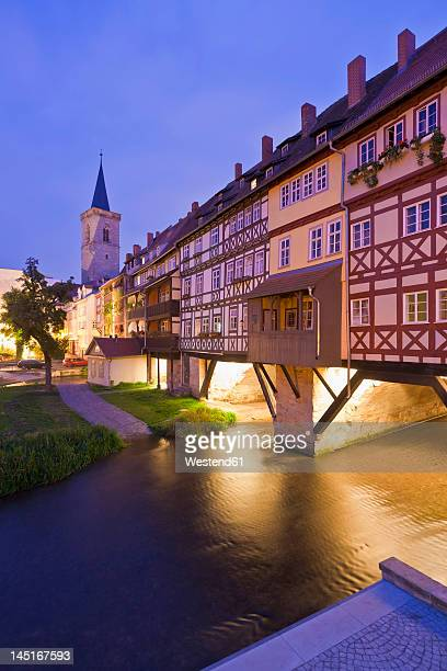germany, thuringia, erfurt, view of st aegidien church at dusk - erfurt stock pictures, royalty-free photos & images