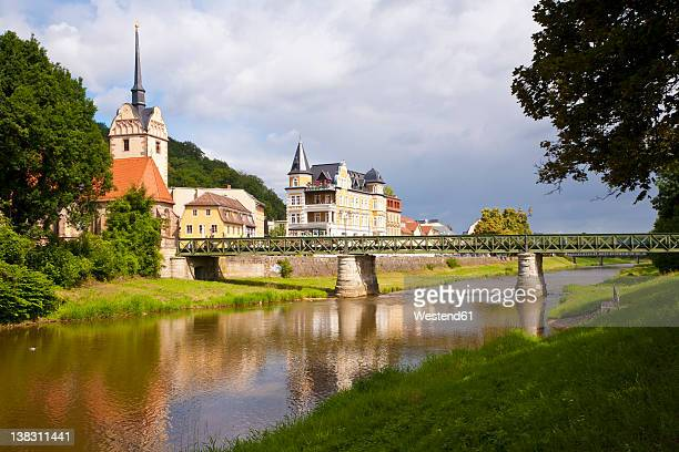 germany, thuringia, gera, untermhaus, view of bridge over weisse elster river - thuringia stock pictures, royalty-free photos & images