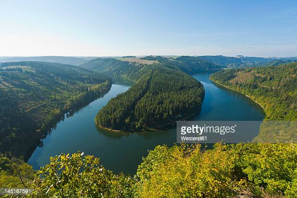 germany, thuringia, view of saaleschleife - thuringia stock pictures, royalty-free photos & images