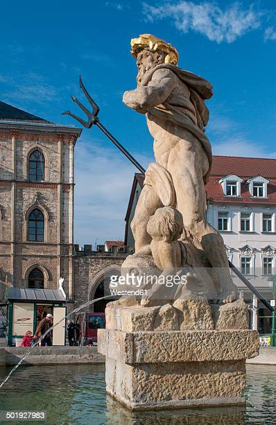 Germany, Thuringia, Weimar, Neptune fountain at market square