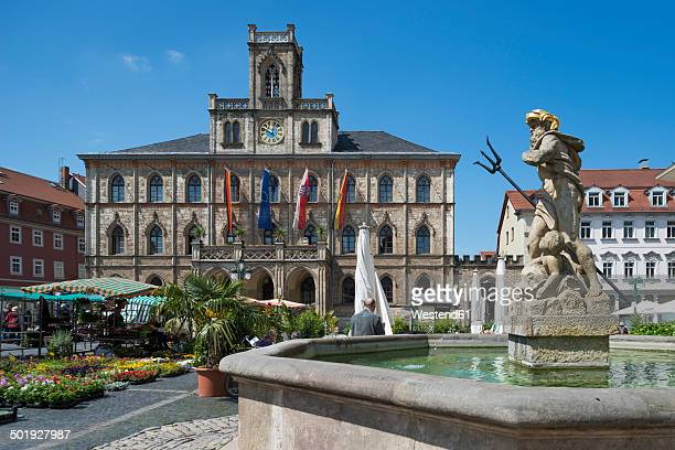 Germany, Thuringia, Weimar, Townhall and Neptune fountain at market square