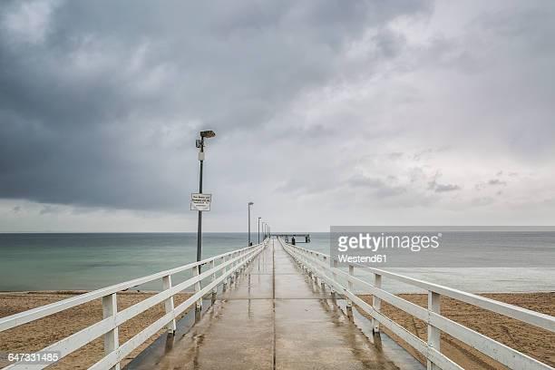 Germany, Timmendorf Beach, view to sea bridge, rainy weather