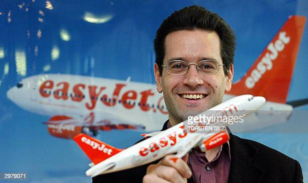 Toby Nicol Marketing Direktor of British low cost airline EasyJet gives a press conference 13 February 2004 at the Dortmund airport to announce...