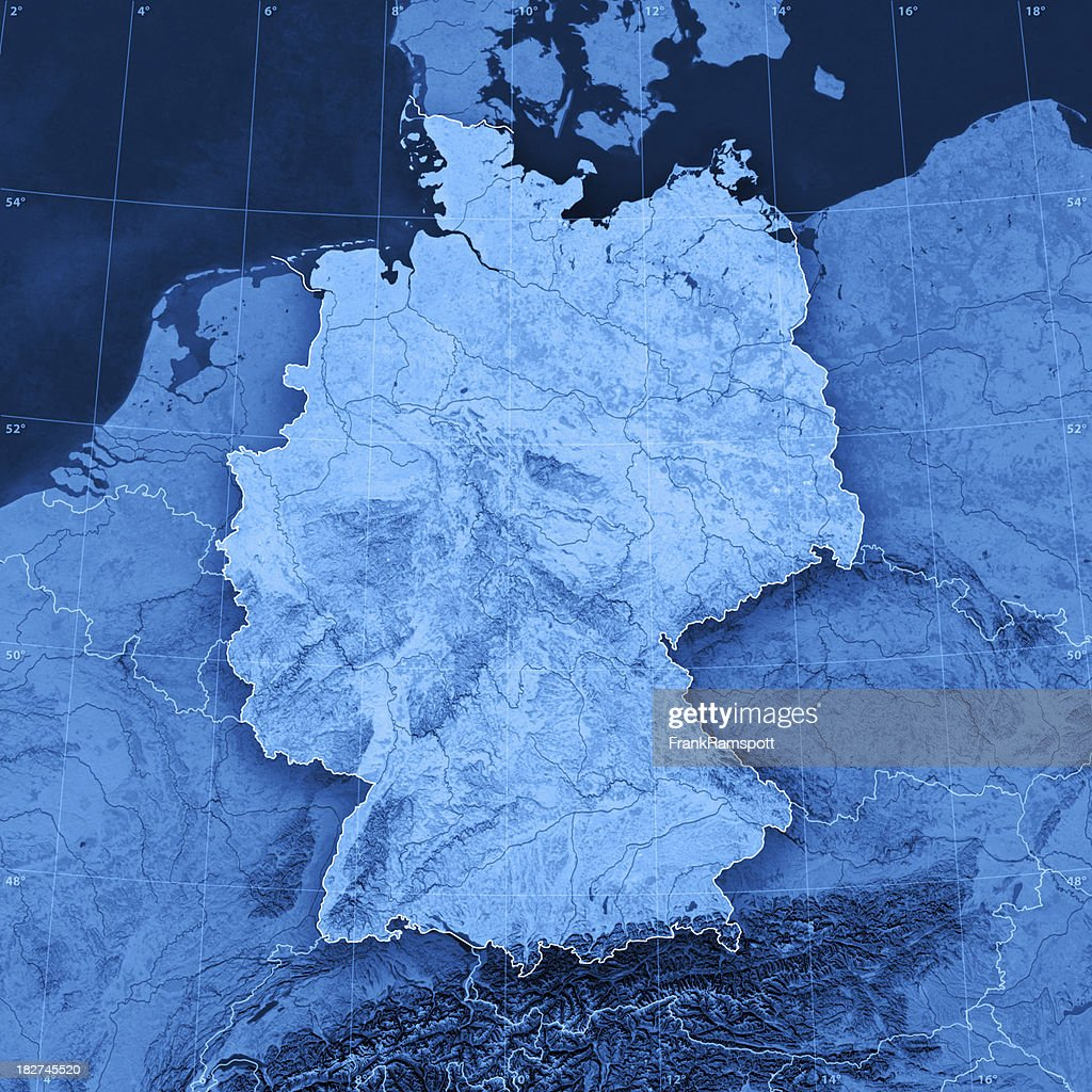 germany topographic map stock photo