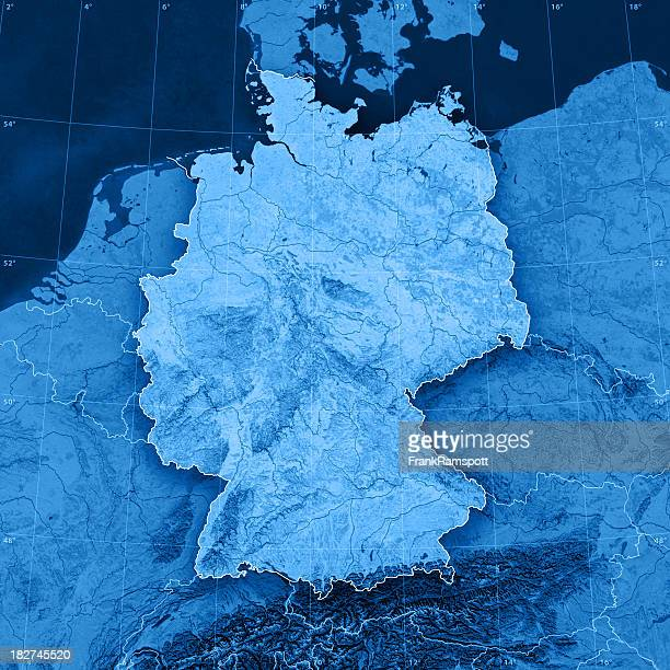 germany topographic map - duitsland stockfoto's en -beelden