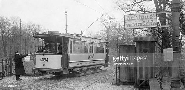 Germany trams in Berlin driving through the tunnel underneath the river Spree ist allowed only to the tram driver who holds the stick in his hand...