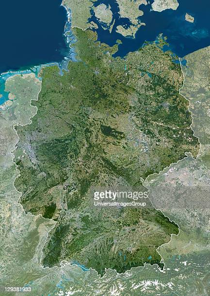 Germany true colour satellite image with mask and border This is the largest country in Europe in terms of population at around 82 million To its...