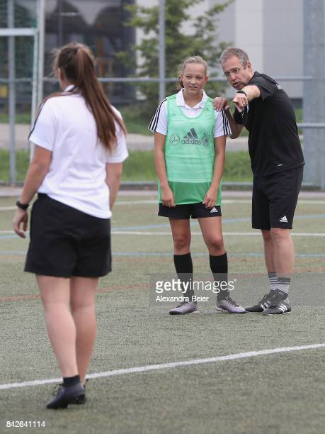 Germany U16 coach Michael Feichtenbeiner performs a show training for DFB junior coaches on September 4 2017 in Stuttgart Germany