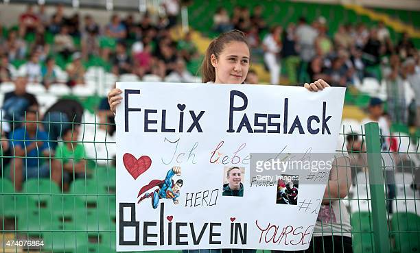 Germany U17 fan shows a banner dedicated to Felix Passlack prior the UEFA European Under17 Championship Semi Final match between Germany U17 and...