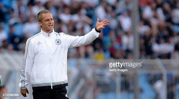 Germany U17 Head Coach Christian Wück gestures during the UEFA European Under17 Championship Final match between Germany U17 and France U17 at Lazur...