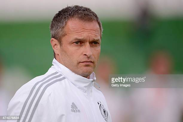 Germany U17 Head Coach Christian Wück looks on prior the UEFA European Under17 Championship Semi Final match between Germany U17 and Russia U17 at...