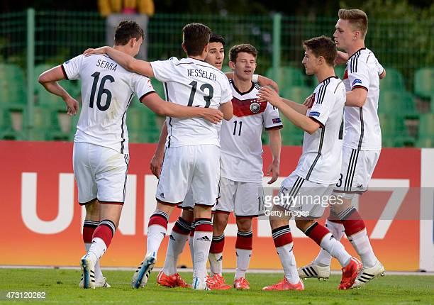 Germany U17 players celebrate the goal of Görkem Saglam during the UEFA European Under17 Championship match between Germany U17 and Czech Republic...
