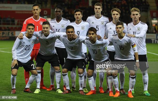 Germany U17's line up against England U17's during the International Match between England U17 and Germany U17 at The New York Stadium on November 14...
