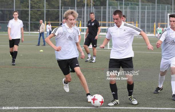 Germany U18 coach Guido Streichsbier performs a show training for DFB junior coaches on September 4 2017 in Stuttgart Germany