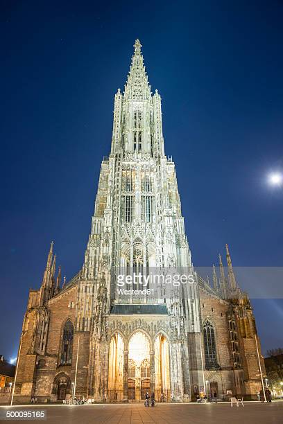 germany, ulm, view of ulmer muenster church at night - minster stock photos and pictures