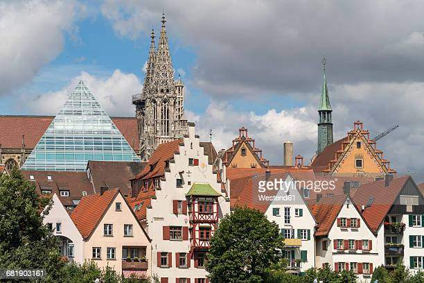 germany, ulm, view to glass pyramide of central library and to ulm minster with houses in the foreground - ulm stock pictures, royalty-free photos & images
