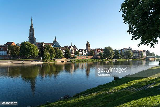 germany, ulm, view to the city with danube river in the foreground - ulm stock pictures, royalty-free photos & images