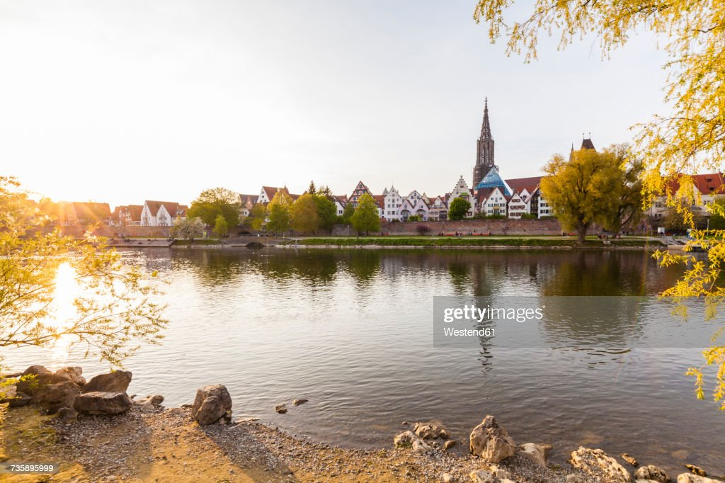 Germany, Ulm, view to the city with Danube River in the foreground : Stock Photo