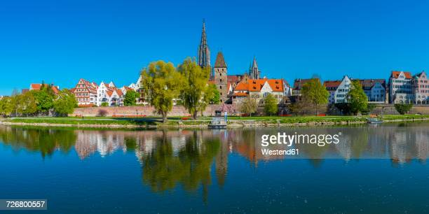 germany, ulm with minster and metzgerturm with danube river in the foreground - ulm stock pictures, royalty-free photos & images