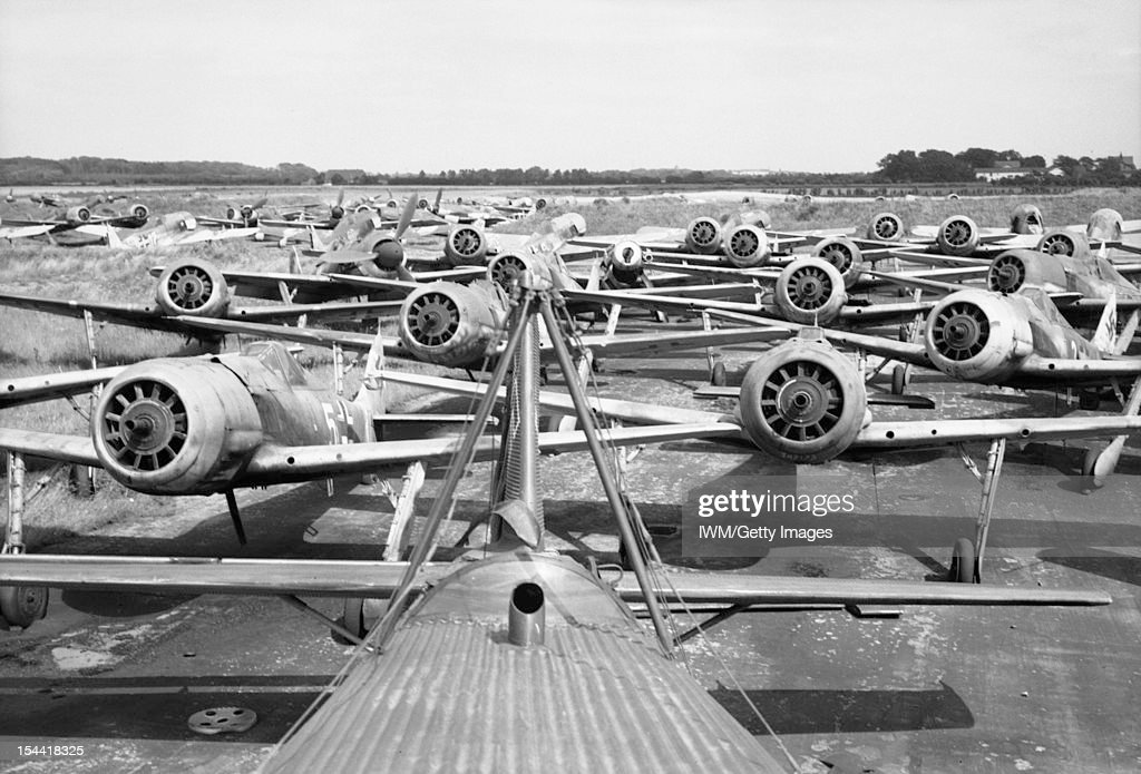 Germany Under Allied Occupation, A group of Focke Wulk Fw 190 fighters parked at Flensburg airfield awaiting disposal, 2 August 1945.