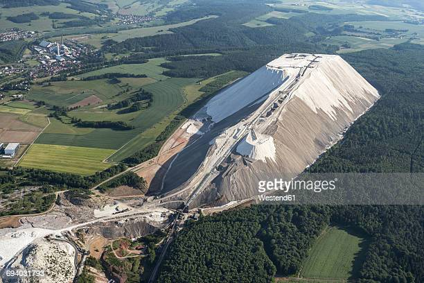 germany, unterbreizbach, aerial view of stockpile of potash mining - potash stock pictures, royalty-free photos & images