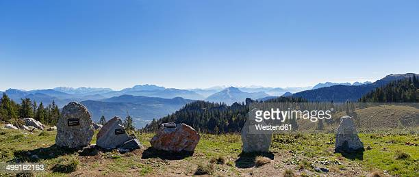 Germany, Upper Bavaria, Bavaria, Chiemgau Alps, Aschau, Chiemgau, Kampenwand, stones of different mountains as panoramic map