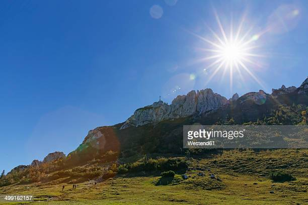 Germany, Upper Bavaria, Bavaria, Chiemgau Alps, Kampenwand against the sun