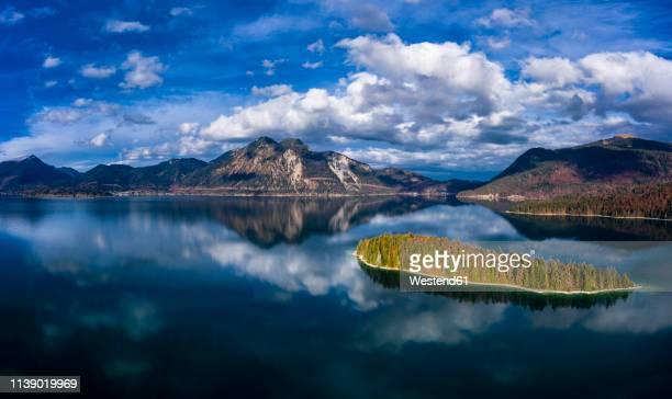 germany, upper bavaria, lake walchen, aerial view of sassau island - oberbayern stock-fotos und bilder