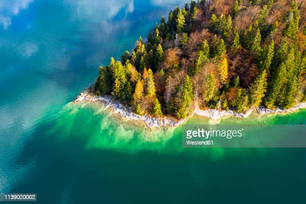 germany, upper bavaria, lake walchen, aerial view of sassau island - nature reserve stock pictures, royalty-free photos & images