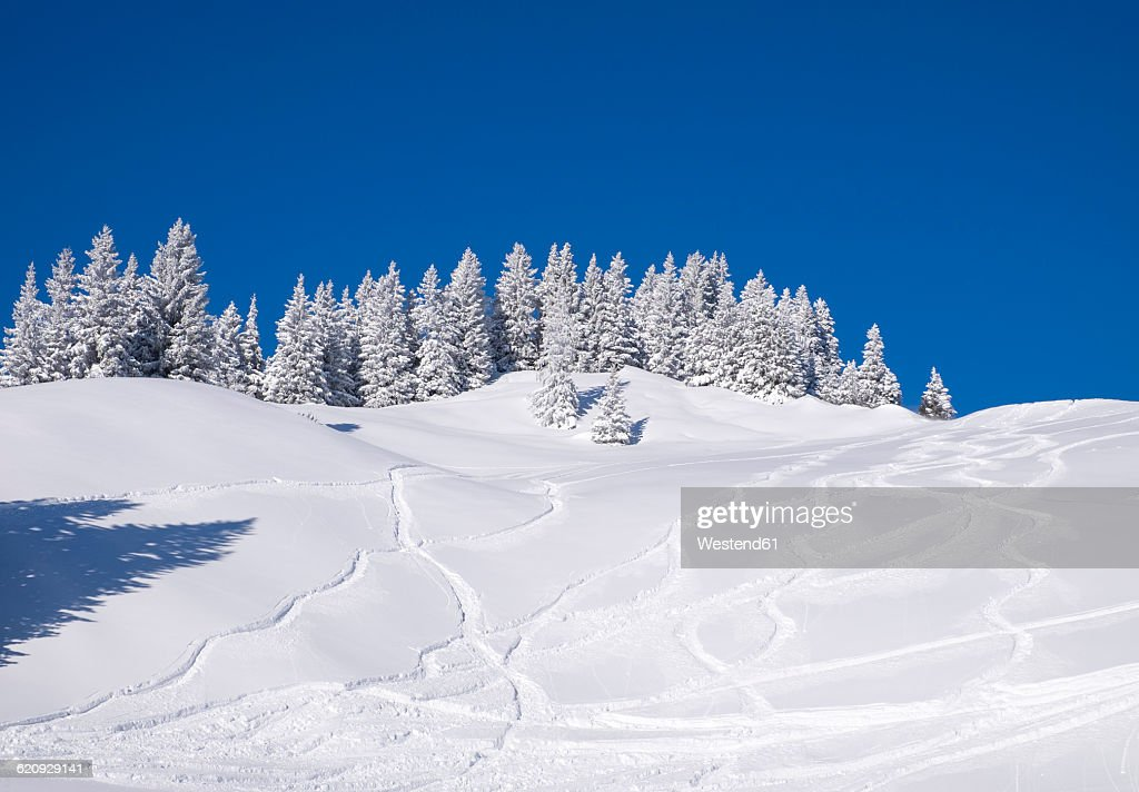 Germany, Upper Bavaria, Lenggries, ski area at Brauneck with ski tracks on the slope : Stock Photo