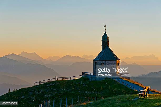 Germany, Upper Bavaria, Tegernsee, View from Wallberg, Chapel in the evening